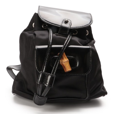 Gucci Small Bamboo Backpack in Black Nylon and Patent Leather