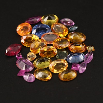 Loose 12.77 CTW Mixed Faceted Sapphire and Tourmaline