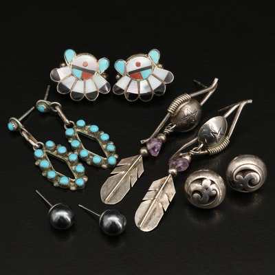 Southwestern Style Sterling Turquoise  And Assorted Gemstone Earrings