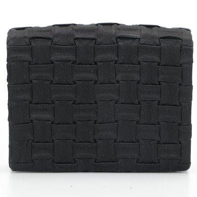 Tiffany & Co. Black Satin Basket Weave Style Convertible Clutch