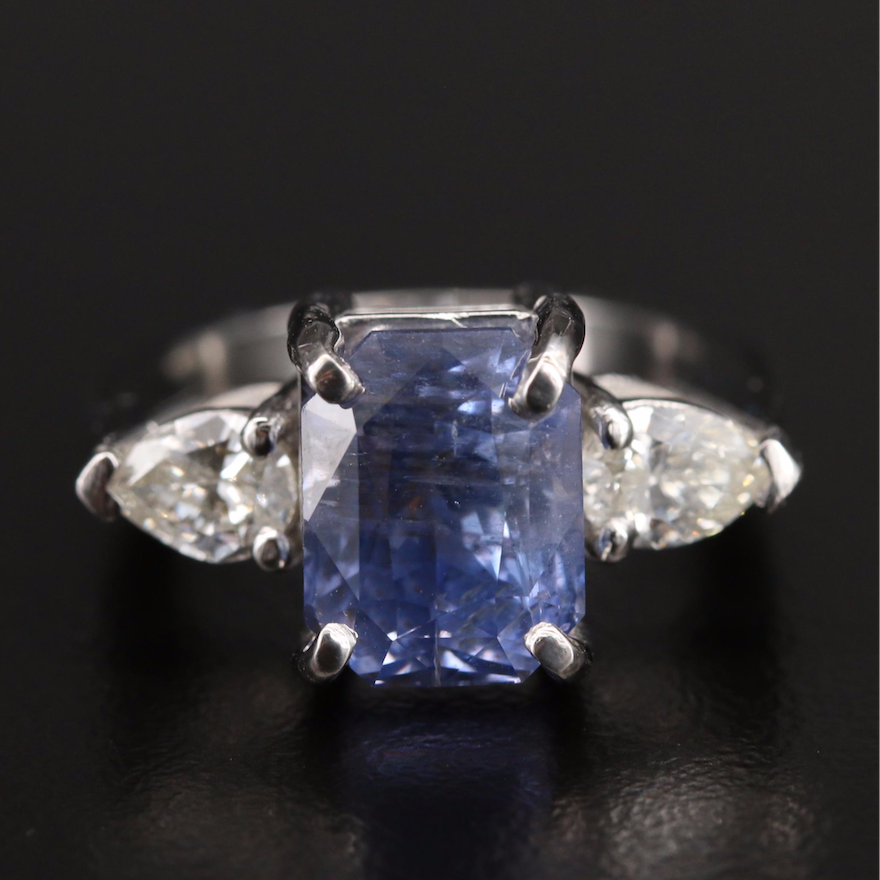 Platinum 7.80 CT Color Change Sapphire and Diamond Ring with GIA Report