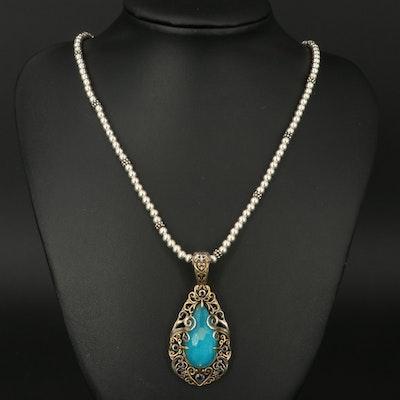Carolyn Pollack for Relios Quartz Doublet and Iolite Pendant Necklace