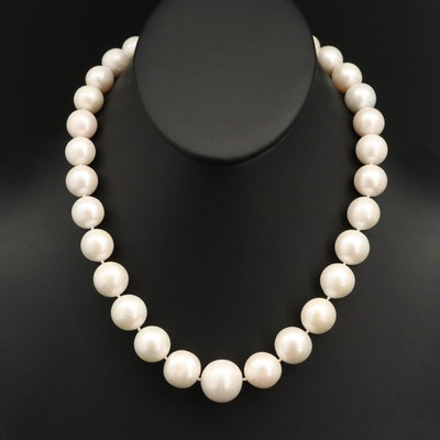 12.00 mm – 17.25 mm Single Strand Pearl Necklace with 14K Clasp