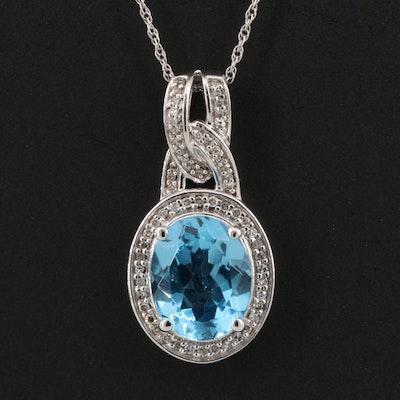 10K Topaz and Diamond Halo Pendant Necklace