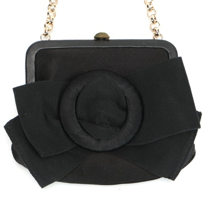 Max Mara Satin and Grosgrain Bow Accented Purse with Rolo Chain Link Strap