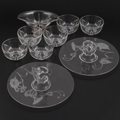"""Fostoria """"Morning Glory"""" Handled Trays, Sterling Footed Bowl and Other Bowls"""