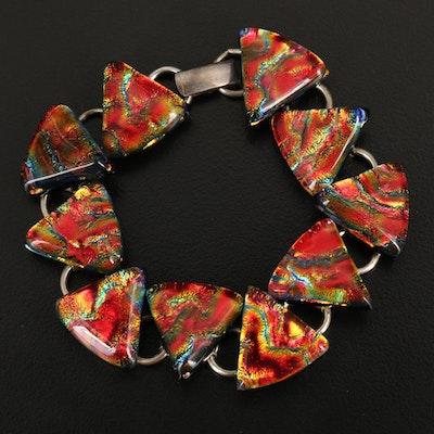 Sterling Dichroic Glass Bracelet