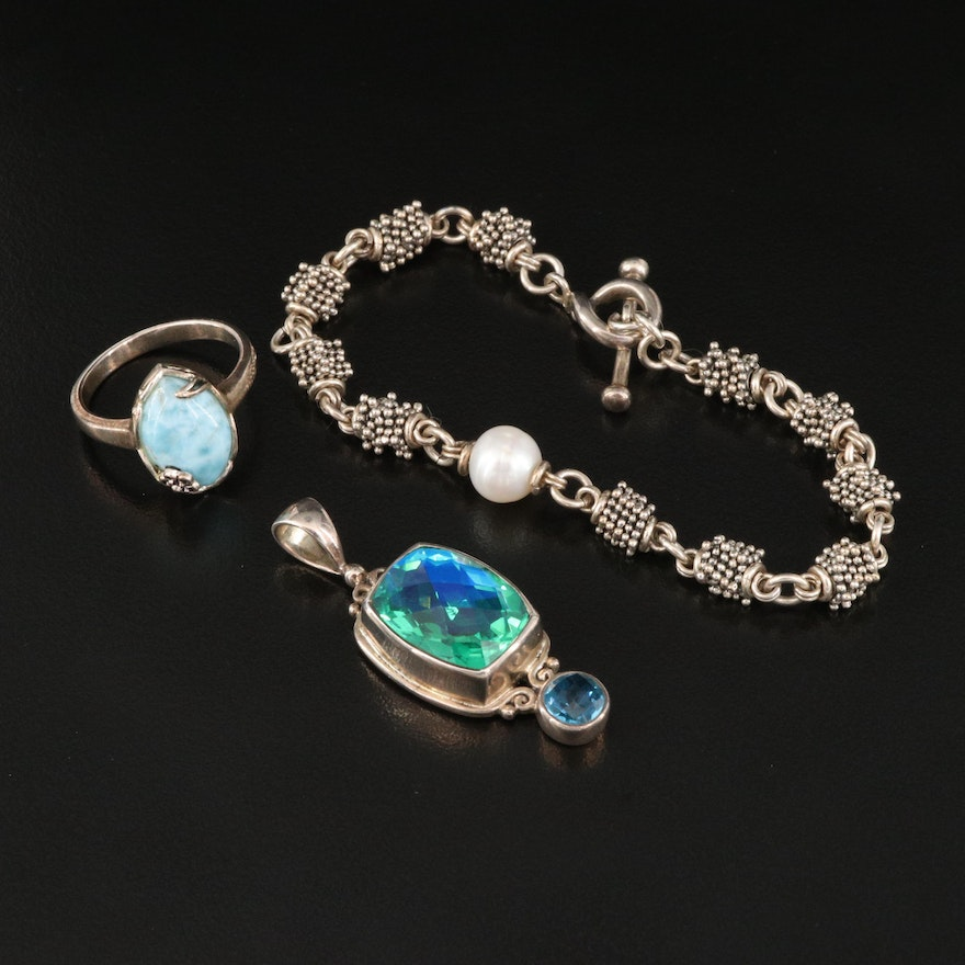 Sterling Jewelry Featuring Michael Dawkins Pearl Bracelet and Sajen Pendant