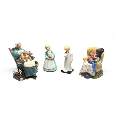 """Royal Doulton Porcelain Figurines """"Nanny"""", """"Sweet Dreams"""", """"Stayed At Home"""""""