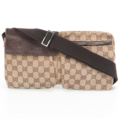 Gucci Belt Bag in GG Canvas and Brown Textured Leather