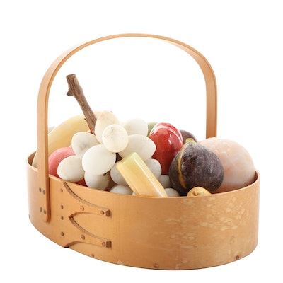 Carved Stone Fruit in Shaker Bent Wood Basket Centerpiece, Mid to Late 20th C