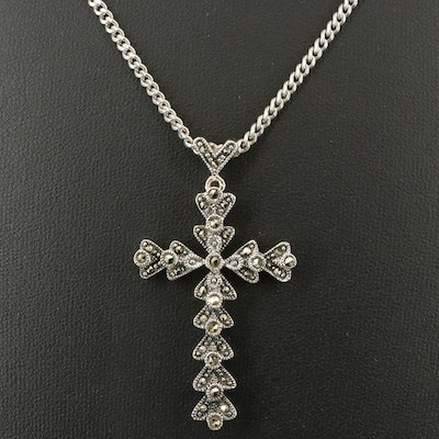 Sterling Marcasite Cross Pendant on Curb Chain