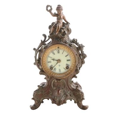 "Ansonia ""Cygnet"" Bronze Tone Mantel Clock, Early 20th Century"