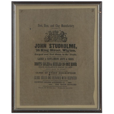 John Studholme Lithograph Advertisement for Boot, Shoe, and Clog Manufactory