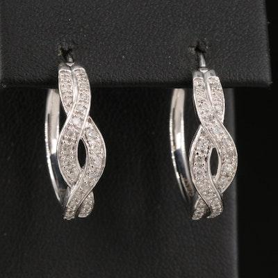 Sterling Silver Diamond Twist Hoop Earrings
