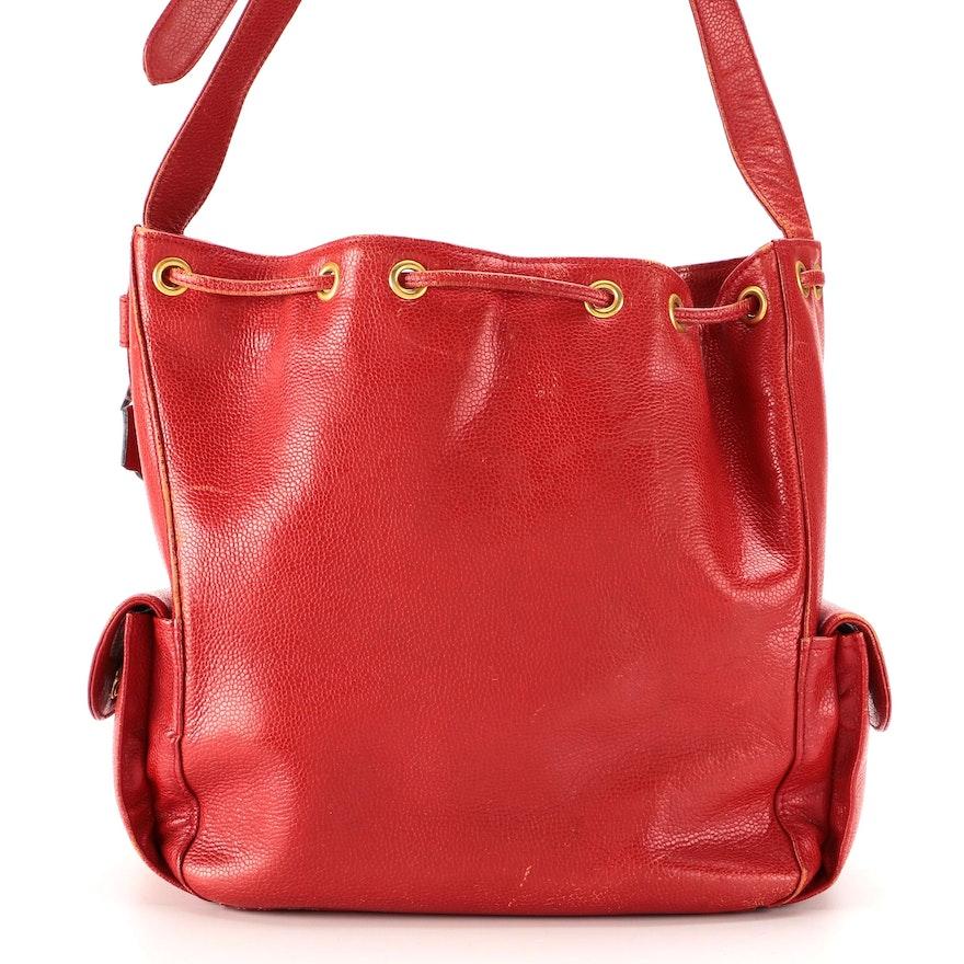 Givenchy Drawstring Shoulder Bag in Red Pebbled Leather