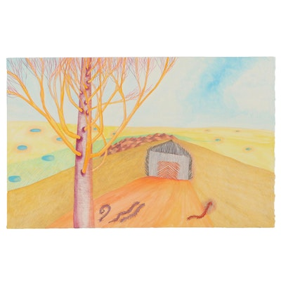 Sherrill Eskew Massey Surreal Colored Pencil and Watercolor Drawing