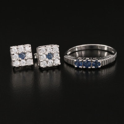 Sterling Silver Ring and Earrings Featuring Sapphire and White Zircon
