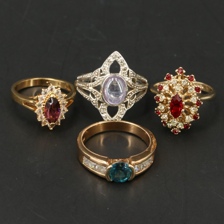 Topaz, Cubic Zirconia and Glass Costume Rings