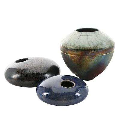 Emma Luna Crackle Glaze Raku Vessel and Other Ikebana Pottery Vases