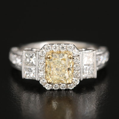 18K 2.63 CTW Diamond Ring with Milgrain Detail