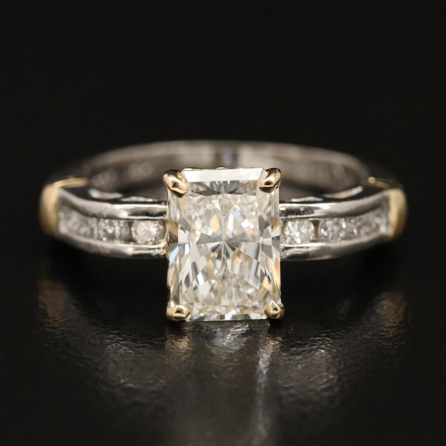Platinum 2.70 CTW Diamond Ring with 18K Accent and IGI Report