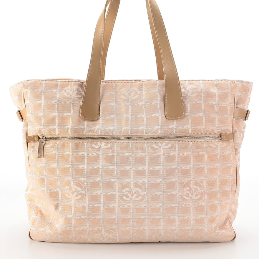 Chanel Travel Line Weekender in Beige Nylon Jacquard and Smooth Leather