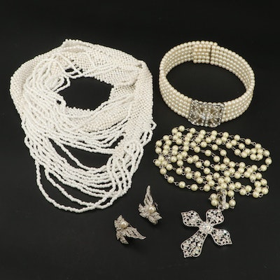 Faux Pearl and Rhinestone Necklaces and Earrings