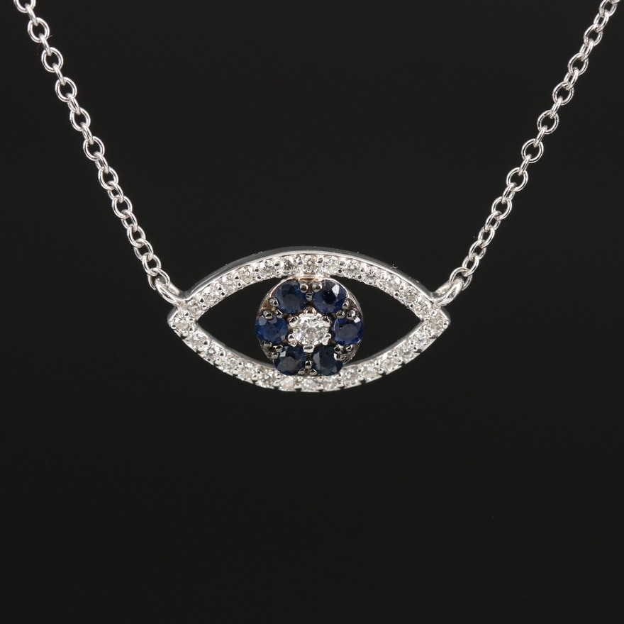 EFFY 14K Sapphire and Diamond Evil Eye Necklace