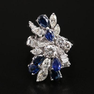 Vintage Platinum Sapphire and 2.05 CTW Diamond Ring