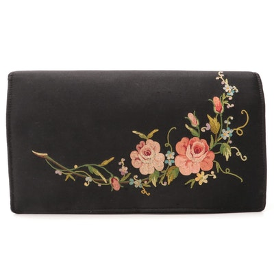 French Floral Embroidered Black Evening Clutch with Forbidden Stitch