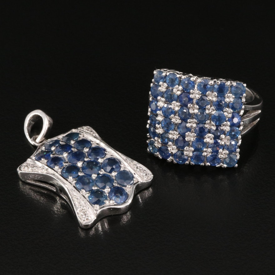 Sterling Sapphire and White Zircon Pendant and Ring