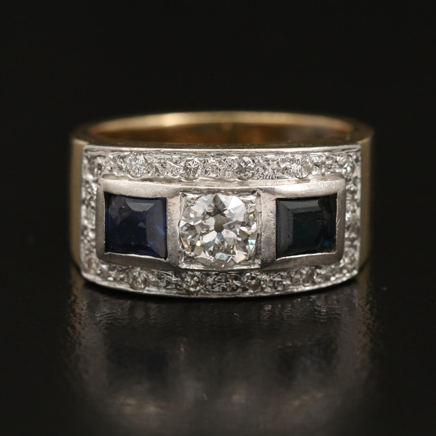 18K and Platinum Diamond and Sapphire Ring