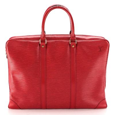 Louis Vuitton Porte-documents Voyage Soft Briefcase in Castilian Red Epi Leather
