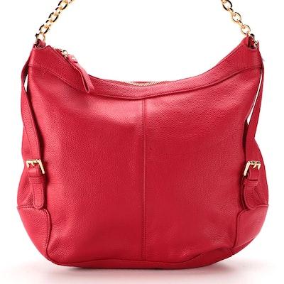 Ora Delphine Dark Pink/Red Pebble Grained Leather Shoulder Bag