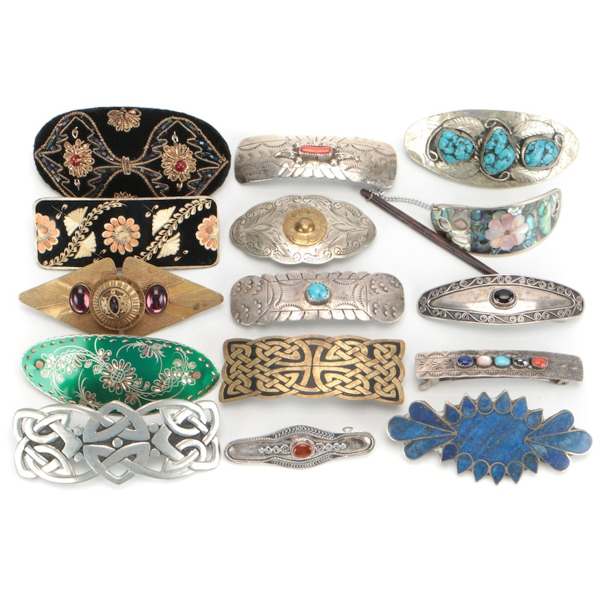 Barrettes Including Sterling, Celtic Pewter, Mother-of-Pearl and Turquoise