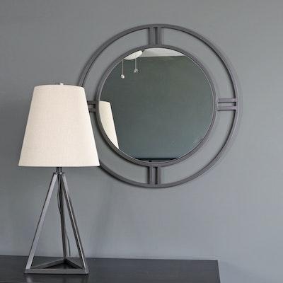 "Metal Circular Wall Mirror and Surya ""Belmont"" Metal Table Lamp"