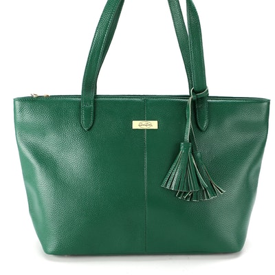 Onna Ehrlich Tassel Tote Bag in Green Pebbled Leather
