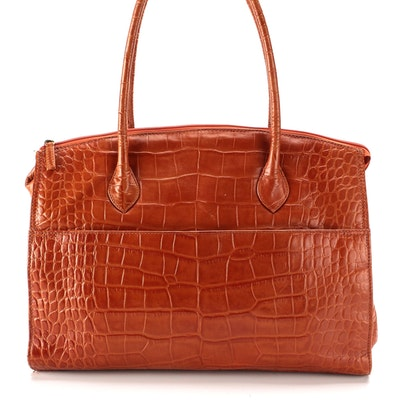 Michael Rome Designs Shoulder Bag in Croc-Embossed Leather