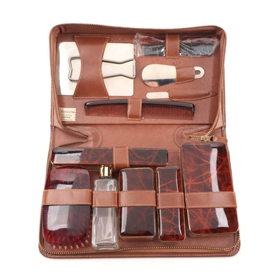 Faux Tortoise Shell Travel Set in Leather Case, Mid-20th Century