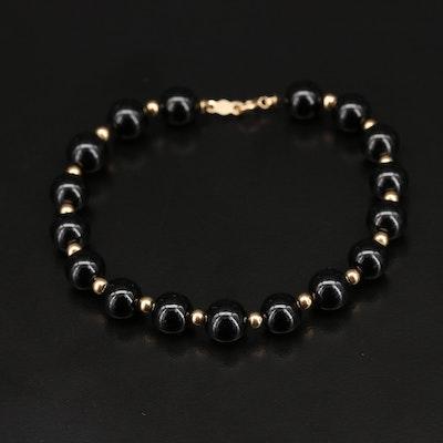 14K Onyx Bead Bracelet
