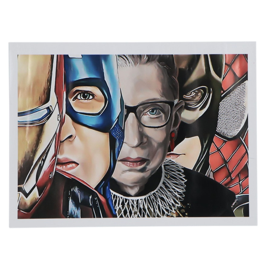 Pop Art Giclée of Ruth Bader Ginsburg with Comic Book Super-Heroes