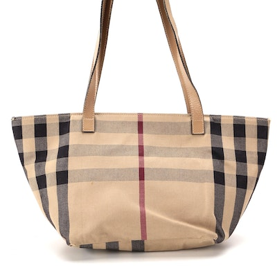 Burberry Shoulder Bag in Plaid Canvas with Leather Trim