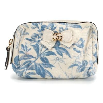 Gucci Japan Exclusive Botanical Blue and White Canvas Pouch