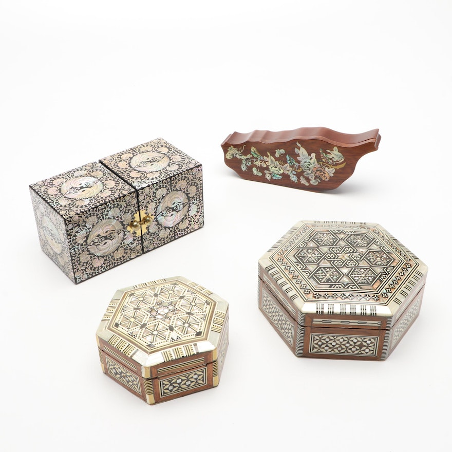 Chinese and Middle Eastern Mother-of-Pearl Inlaid Boxes