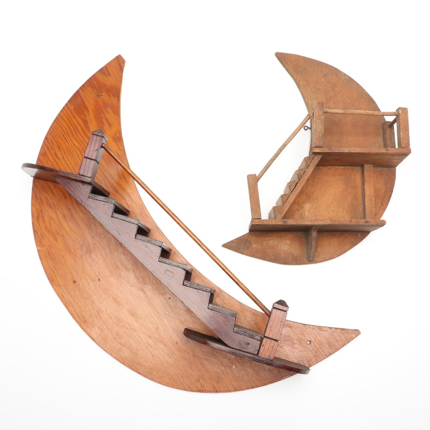 Wooden Crescent Moons with Staircases Wall Hangings