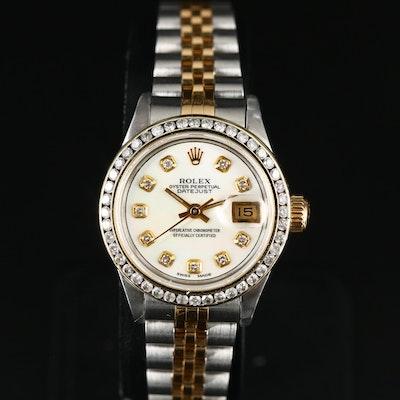 1993 Rolex Datejust 18K Gold and Stainless Steel 1.00 CTW Diamond Wristwatch
