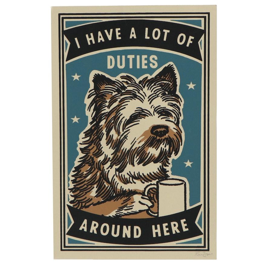 """Ravi Zupa Serigraph of Dog """"Duties"""""""