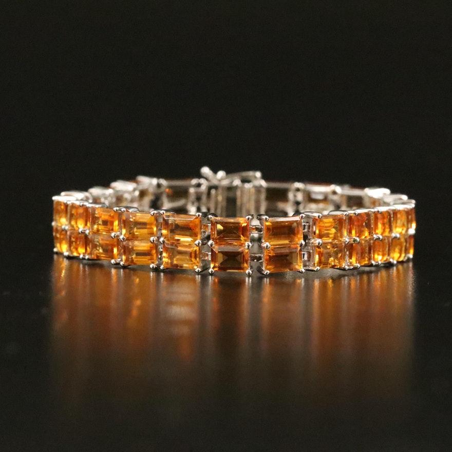 Sterling Citrine Double Row Bracelet