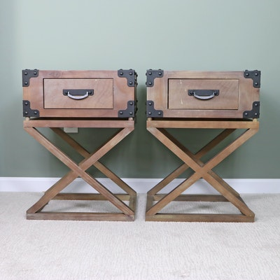 Pair of Campaign Style Metal-Mounted Pine and Wood Veneered End Tables